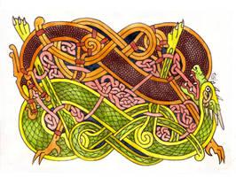 Celtic vs Norse Dragon    II by Feivelyn