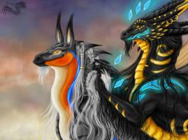 Adhara and Keyadrel by Yamiyo