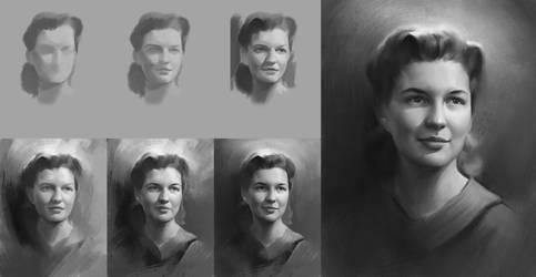 Process of my portrait study by Naranb