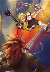 Roxas VS Axel 2 by Gamubear