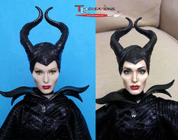 Angelina Jolie Maleficent Doll repaint by zelu1984