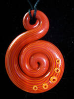 Red and Orange Snail Pendant by Laurenry