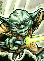 Yoda Sketch Card by Axebone