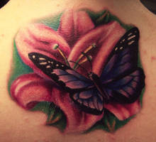 flower butterfly tattoo by hatefulss