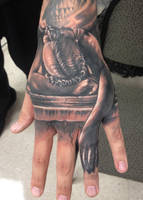 statue hand tattoo by hatefulss