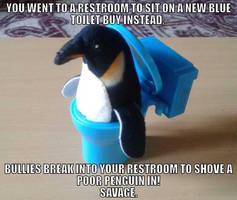 A penguin in the toilet by BenorianHardback26
