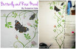 Butterfly and trailing Rose Mural by SuzanneHole