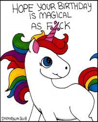 Unicorn Birthday Card by DivaXenia