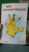 [Watercolor pencils] Pikachu BDay Greeting Card by Ishimaru-Chiaki