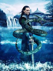 Loki and Jormungandr by AnnGeea