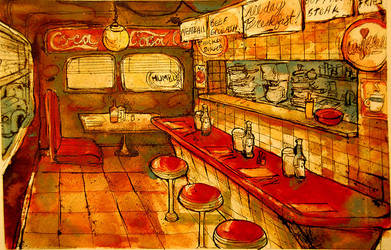 gas station diner by twistedEXIT