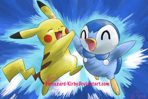 Pikachu and Piplup by Celestial-Biohazard
