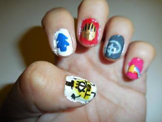 Gravity Falls Inspired Nails (Left) by FlowerPhantom