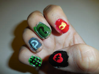 Gravity Falls Inspired Nails (Right) by FlowerPhantom