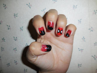 Deadpool Nails by FlowerPhantom