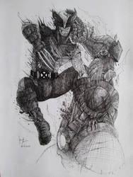 Wolverine VS Sentinel by Bigeggs