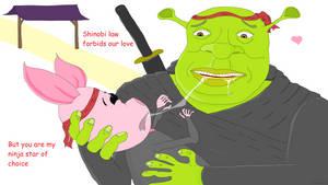 Shrek x Piglet the ninja love story by Sikojensika