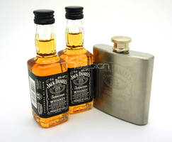Jack Daniels Miniature and Matching Flask by haz999