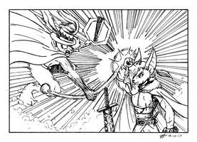 Inktober 2017-13-Anime Fight by The-Black-Terror