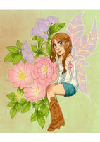Fairy with boots by Luzetteart