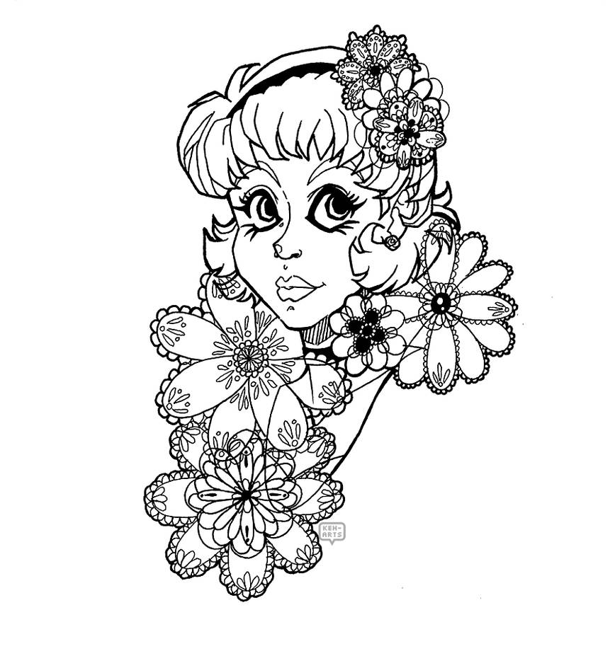 Lace Flowers - Line art by keh-arts