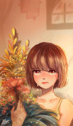 A girl and flowers by Finalheart004