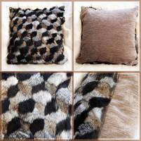 Geometric Fur Cushion by ToySkunk