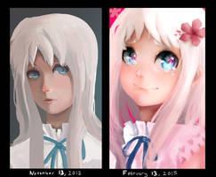 Menma Portrait (Remake) Draw it again Comparison by Daidus