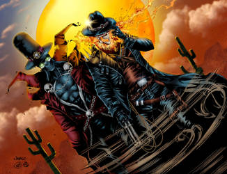 Gunslinger Spawn and Western Ghost Rider - Colors by Staminaboy