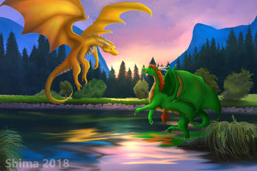 Dragons in a lake YCH by ShimaLaqi