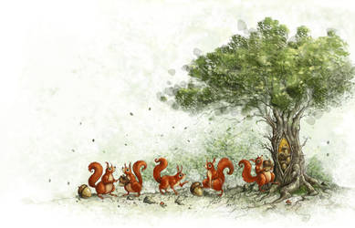 Squirrels and a tree by mr-nick