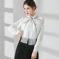 White bow blouse with black lining by veronarmon