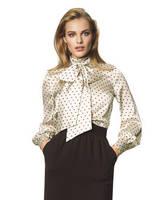White polka-dot bow blouse by veronarmon