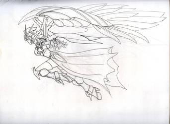 wing zero girl fly line art by karlonne