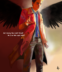 SPN FanArt: Mixed-up angel by NinaKask