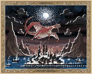 Lake-town is Burning!  Rankin/Bass Smaug Glow by McQuade