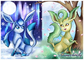 Leafeon and Glaceon by Animechristy
