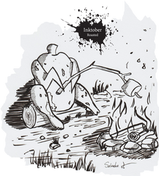 Inktober Day 3 Roasted by Magneum