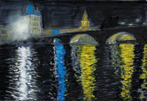 Prague at night by davepuls