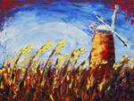 Horsey windmill and wheatfield by davepuls
