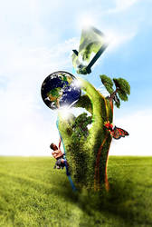 earth in the hands of green by 2easy4yoshi