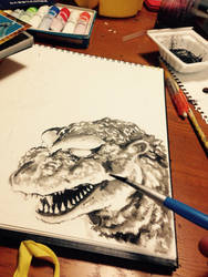 Godzilla in progress by NORIMATSUKeiichi