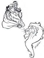 Beast and Scar tattoo designs by depplosion