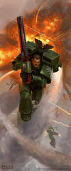 Warhammer 40K Dark Angel Assault Marine by JakeMurray