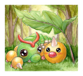 Caterpie Weedle Campout by willowdream