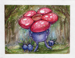 Vileplume and Oddish by willowdream