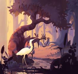 Crane at dawn by ApollinArt