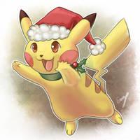 Christmas Pikachu! by EemsArt