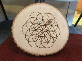 Wood Burnt Flower of Life Stock by AliDee33