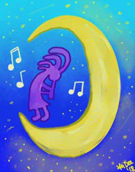 Kokopelli On The Moon by AliDee33